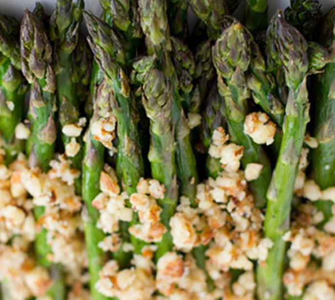 Roasted Asparagus With Lemon-Almond Pesto