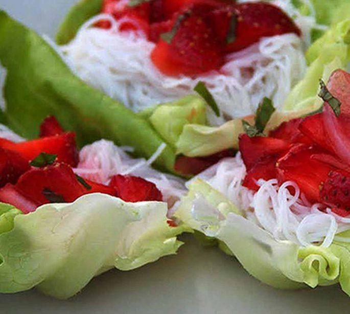 Strawberry Filled Lettuce Wraps