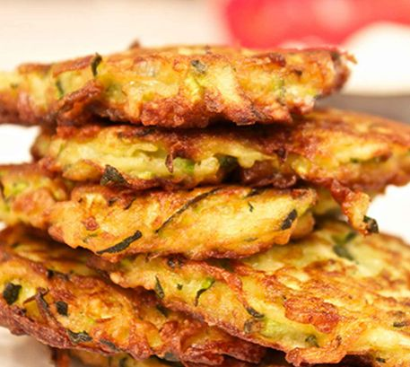 Zucchini Pancakes With Basil Dressing